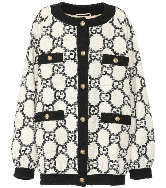 Gucci Oversized tweed cardigan in white