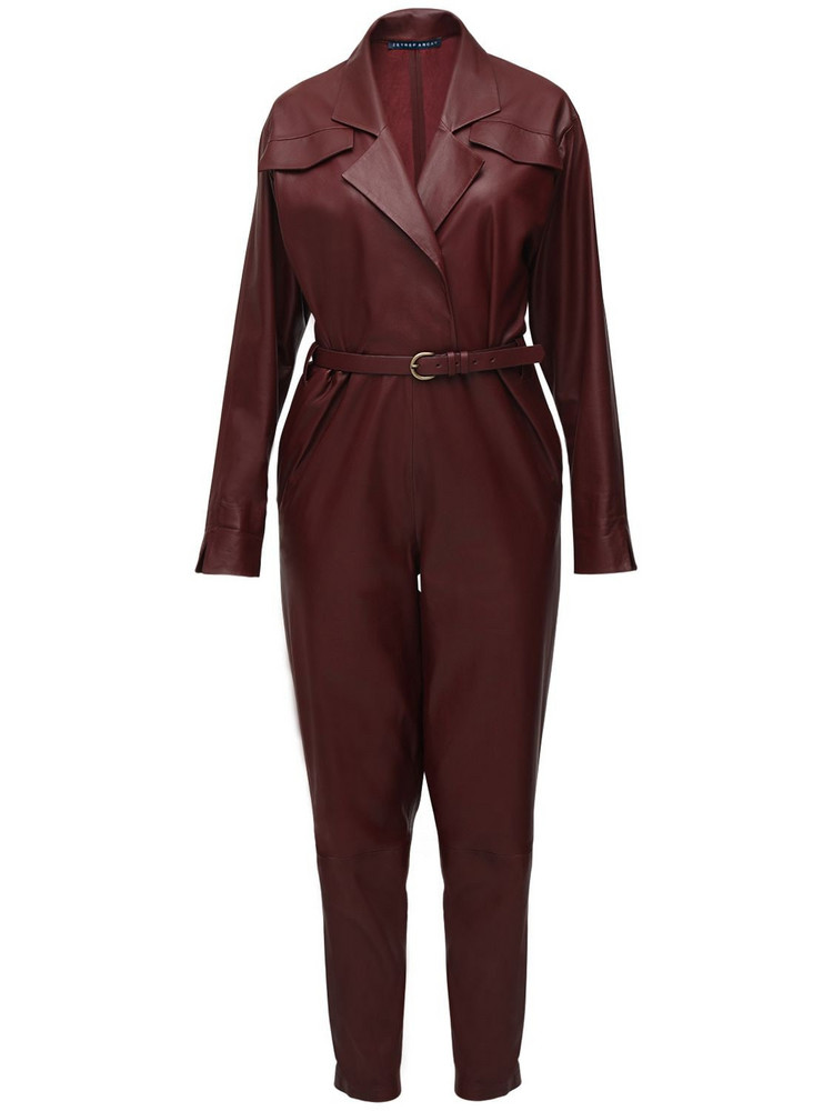 ZEYNEP ARCAY Bat Wing Leather Jumpsuit