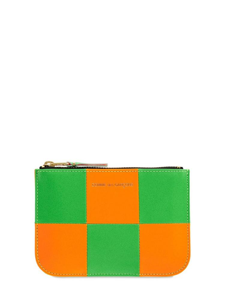 COMME DES GARÇONS WALLET Fluo Squares Leather Pouch in green / orange