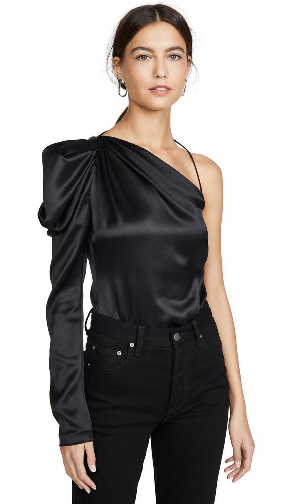 Cushnie One Shoulder Fitted Top in black