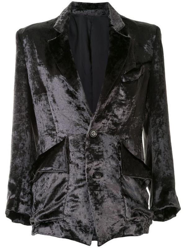 sulvam velvet single-breasted blazer in grey