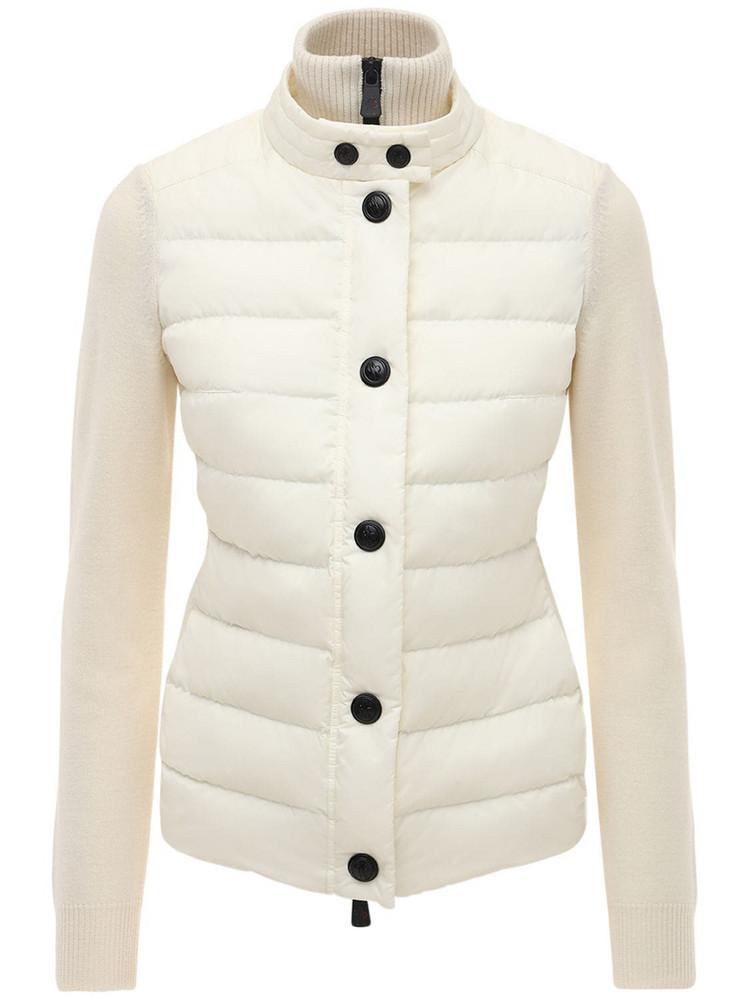 MONCLER GRENOBLE Tricot Knit & Nylon Down Jacket in white