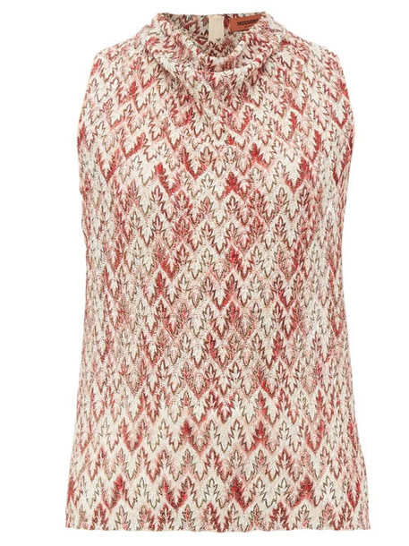Missoni - Cowl-neck Zigzag-knitted Lamé Top - Womens - Red Multi
