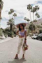 2016 | collage vintage,blogger,top,pants,shoes,hat,bag,belt,jewels,crop tops,sandals,straw bag,summer outfits