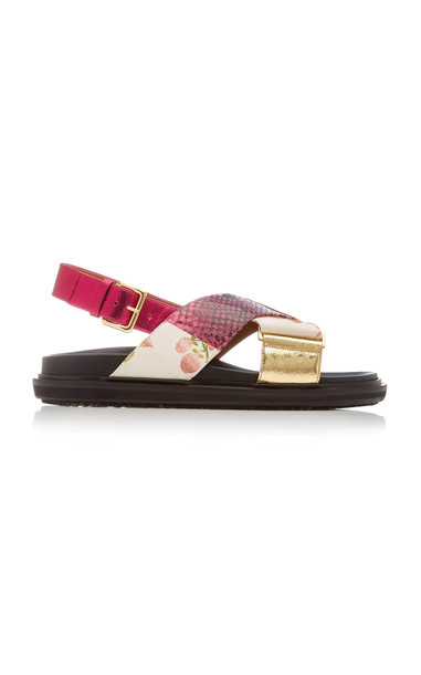 Marni Fussbett Patchwork Leather Sandals in multi