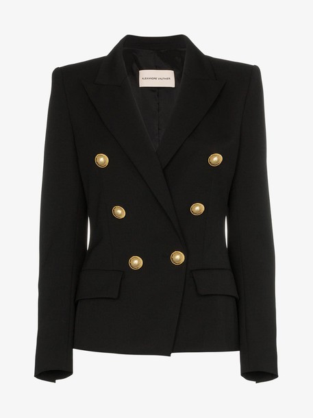 Alexandre Vauthier button detail wool blend blazer in black