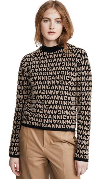 GANNI Jacquard Knit Sweater in black
