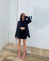 skirt,black skirt,sandal heels,black blazer,black top
