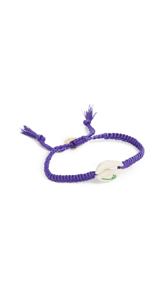 Venessa Arizaga Palm Tree Shell Bracelet in green / purple