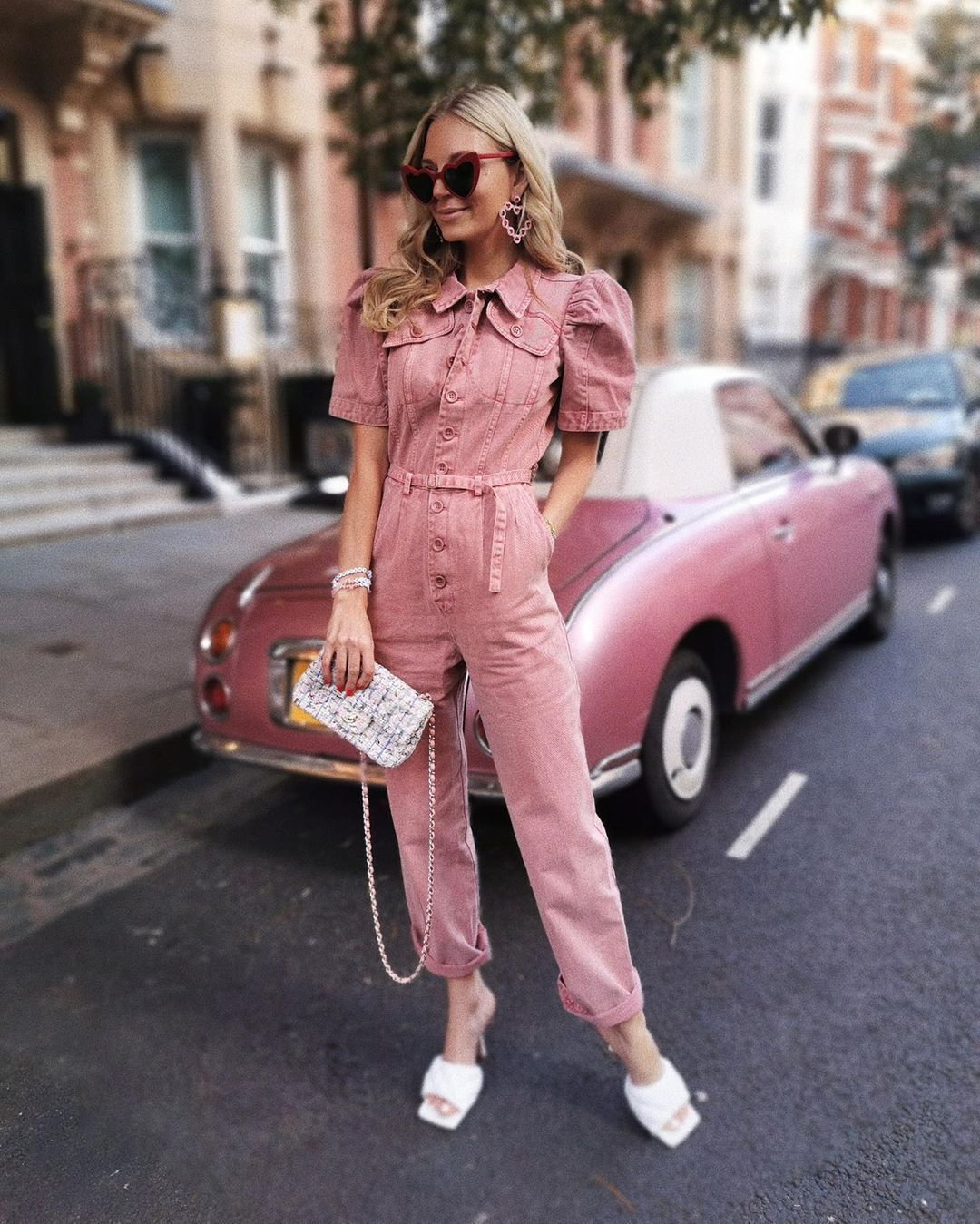 jumpsuit denim sandal heels white sandals bag