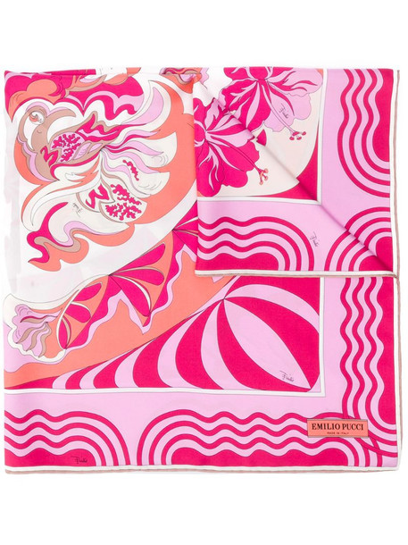 Emilio Pucci abstract floral print scarf in pink