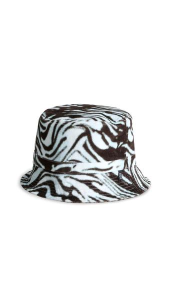 R13 Reversible Bucket Hat in blue / leopard