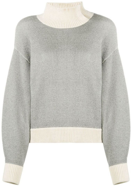3.1 Phillip Lim high neck ribbed sweatshirt in silver