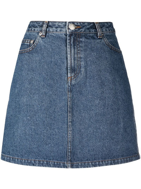A.P.C. A-line cotton denim skirt in blue