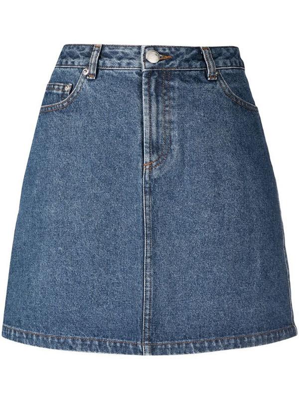 A.P.C. A-line cotton denim skirt in blue