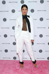 shoes,priyanka chopra,celebrity,black and white,pants,top,blazer,suit