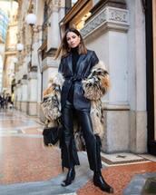 jacket,black blazer,leather,black pants,high waisted pants,fringes,black boots,dior bag,faux fur coat,black turtleneck top