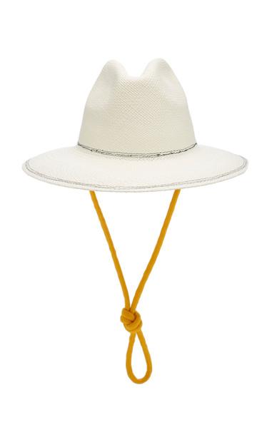 Federica Moretti Wide-Brimmed Straw Fedora Size: L in white