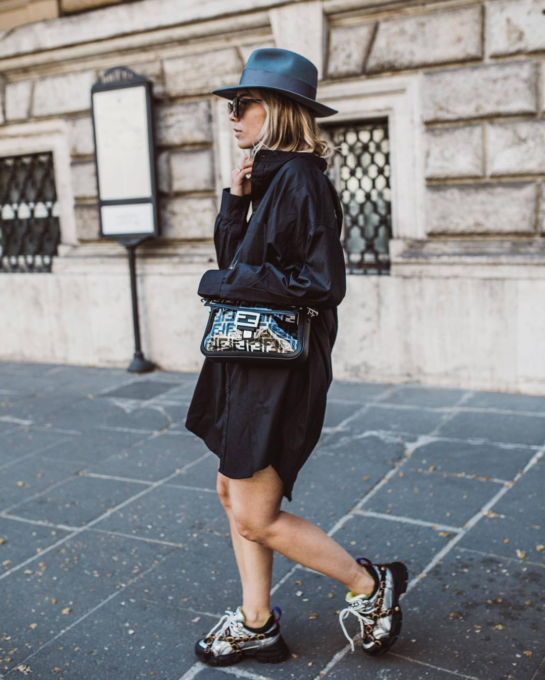 bag shoulder bag fendi sneakers shirt dress black dress hat