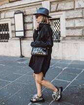 bag,shoulder bag,fendi,sneakers,shirt dress,black dress,hat