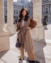 coat,long coat,plaid,double breasted,wide-leg pants,black boots,black bag,handbag,white shirt