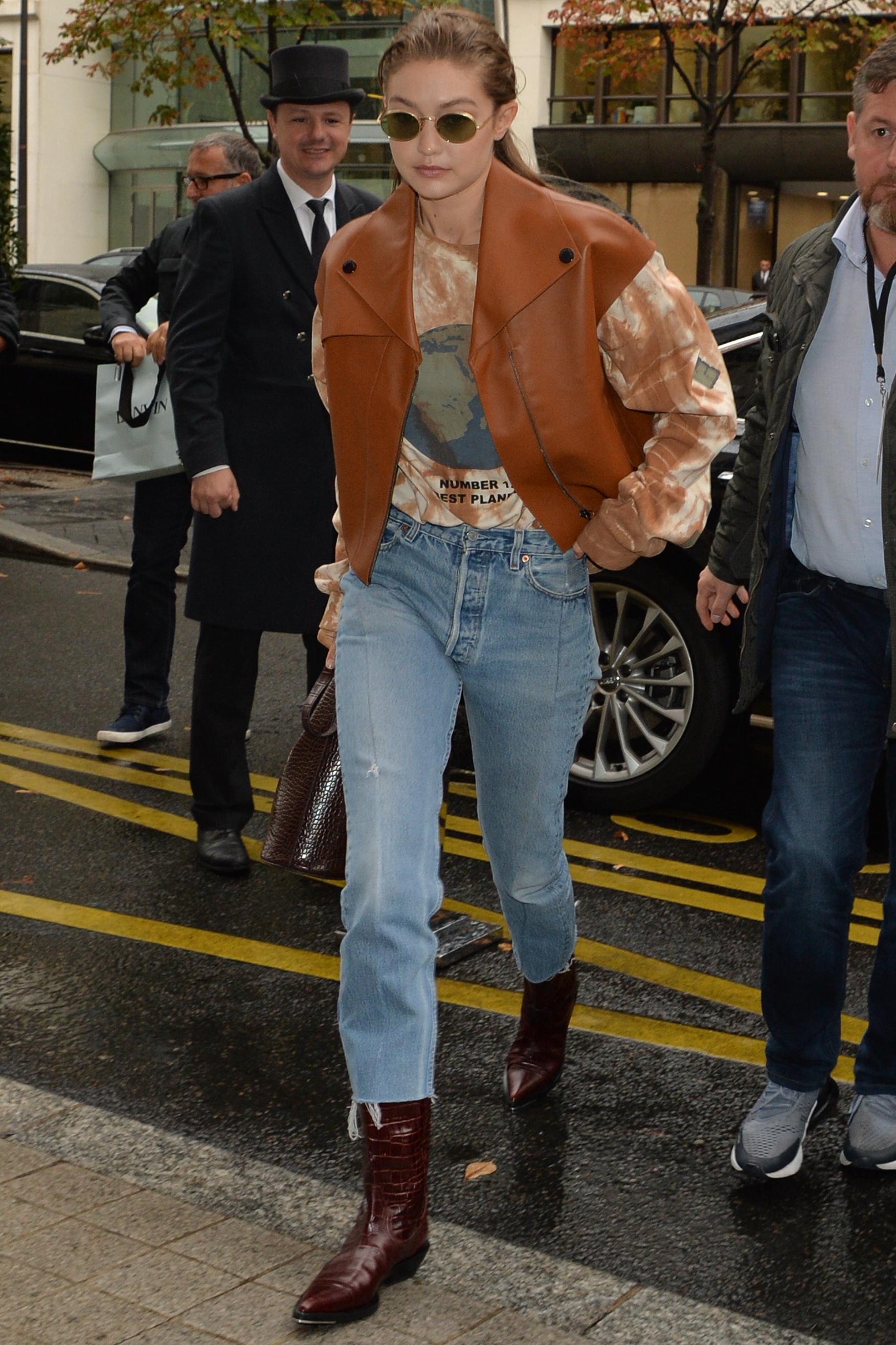 jacket gigi hadid model off-duty fall outfits jeans denim fashion week celebrity