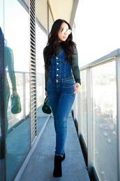 hautepinkpretty,blogger,jumpsuit,sunglasses,bag,shoes,jewels,top,denim jumpsuit,ankle boots