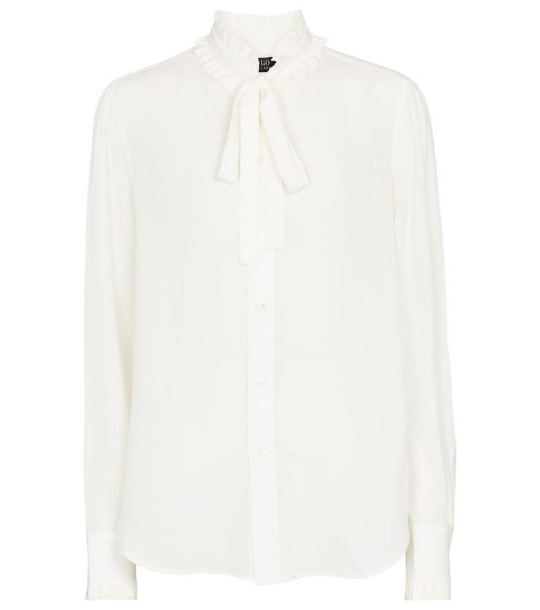 Polo Ralph Lauren Tie-neck silk shirt in white