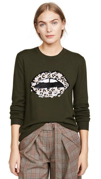 Markus Lupfer Natalie Sequin Leopard Lip Sweater