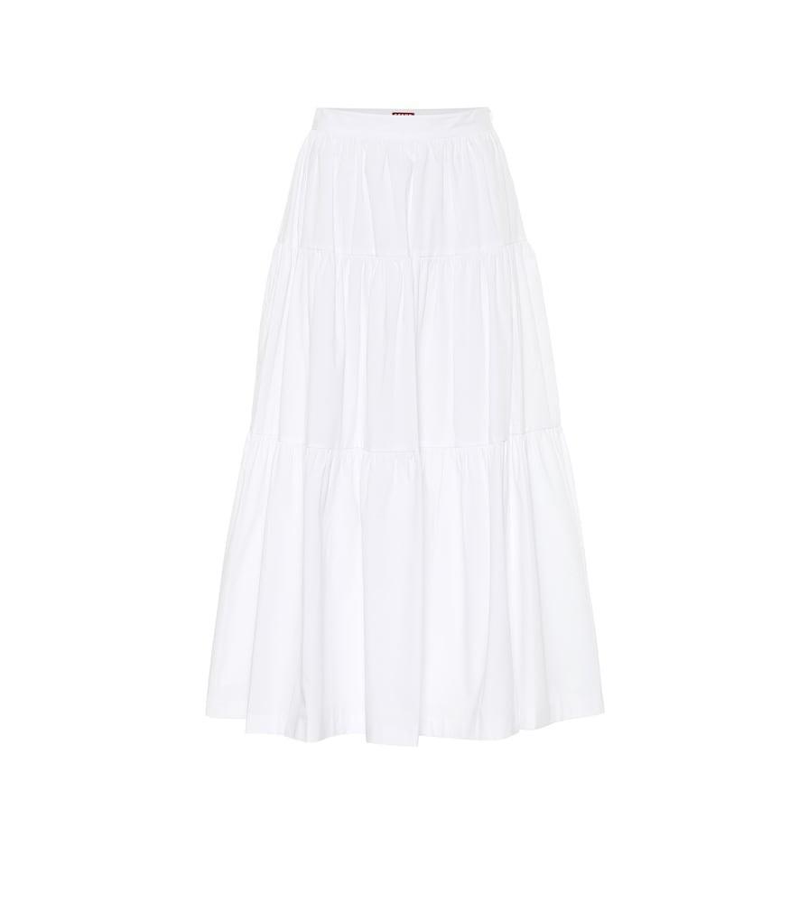 Staud Sea cotton poplin midi skirt in white