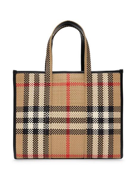 Burberry small check-print latticed tote bag in neutrals