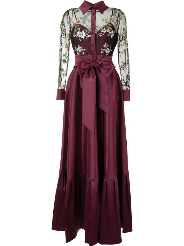Badgley Mischka bow detail draped gown in purple