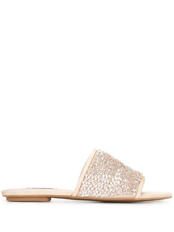 Badgley Mischka Gita sequin-embellished sandals in gold