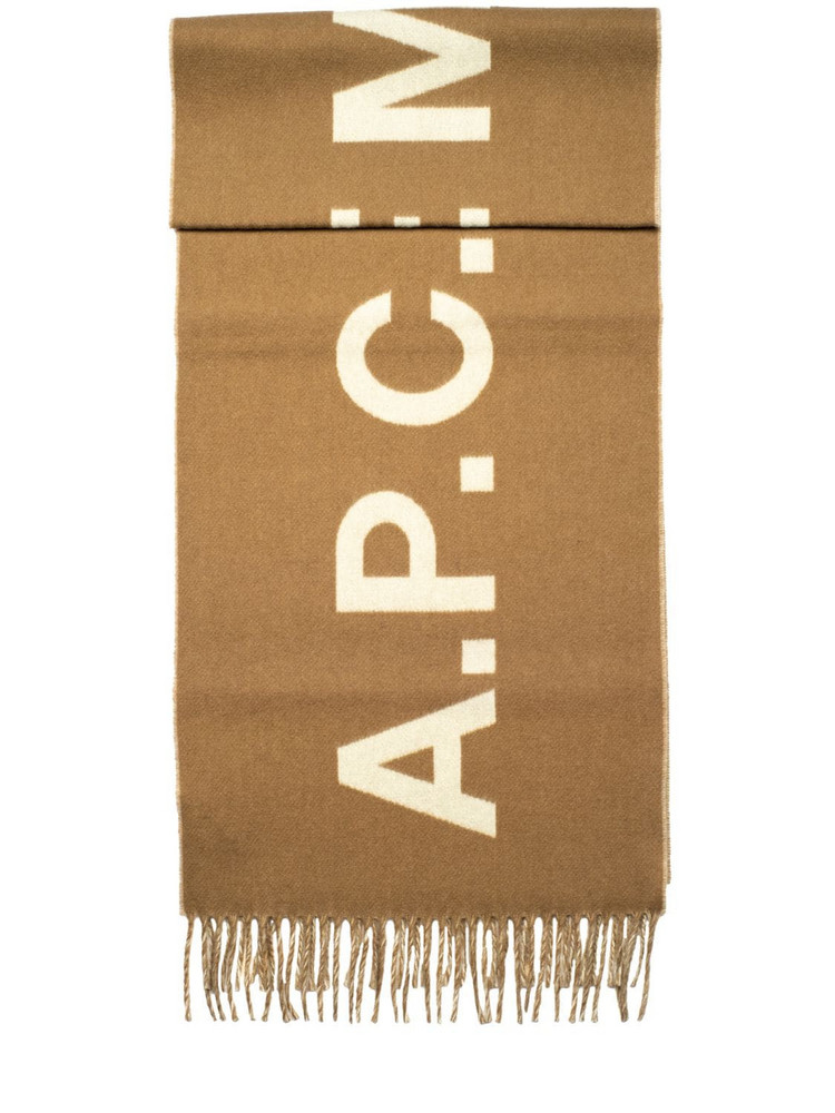 A.P.C. Jacquard Logo Wool Fringed Scarf in white