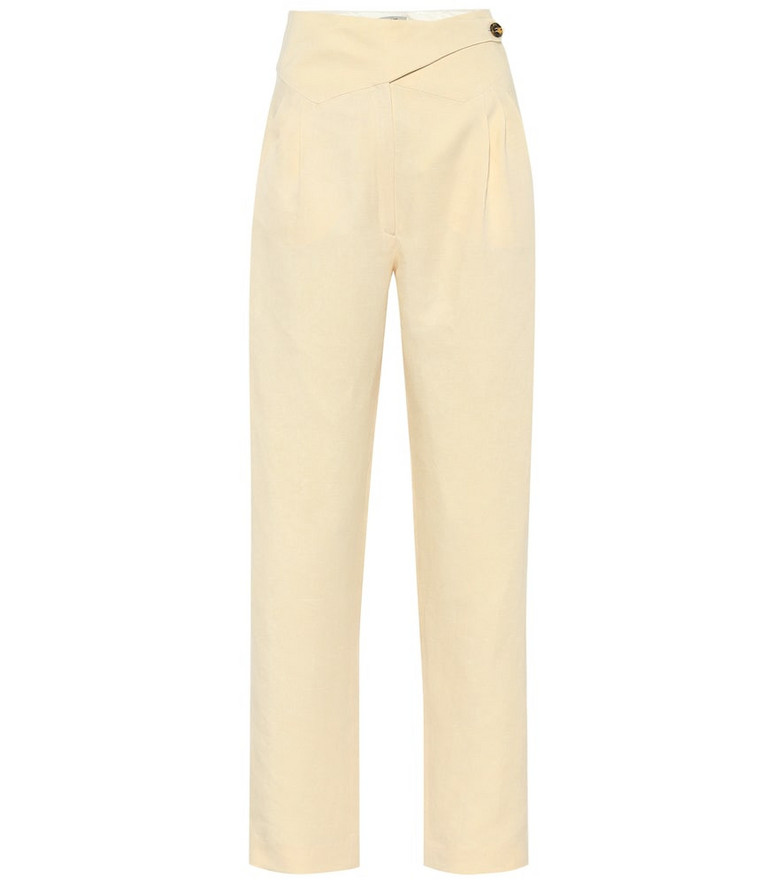 Blazé Milano Basque linen and silk high-rise pants in beige
