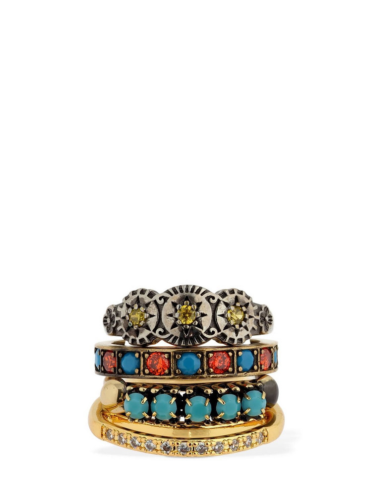 IOSSELLIANI Set Of 4 Rings W/ Turquoise & Zircons in blue / gold