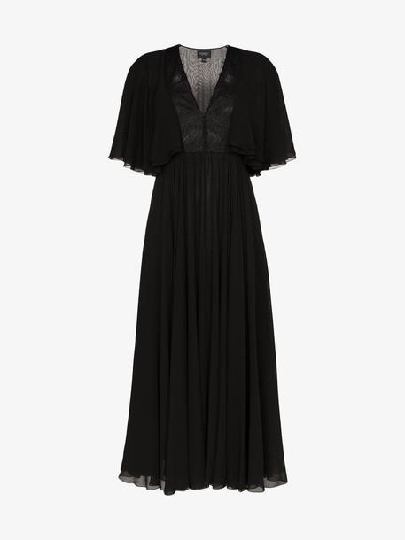 Giambattista Valli Georgette flared sleeve dress in black