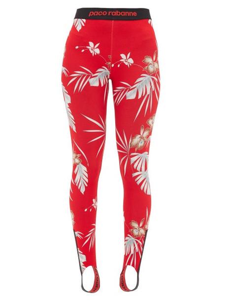 Paco Rabanne - Bodyline Hawaiian-print Stirrup Leggings - Womens - Red Print