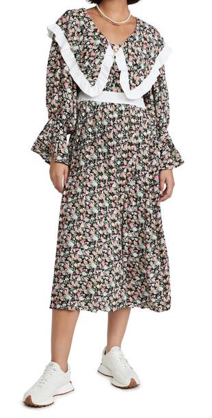 Sister Jane Niece Floral Midi Dress in black / pink / white