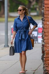 dress,denim dress,reese witherspoon,celebrity,midi dress,spring outfits