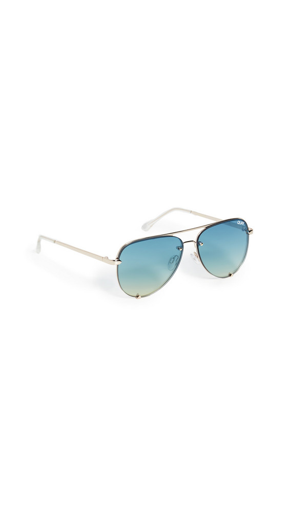Quay High Key Mini Rimless Sunglasses in turquoise / gold