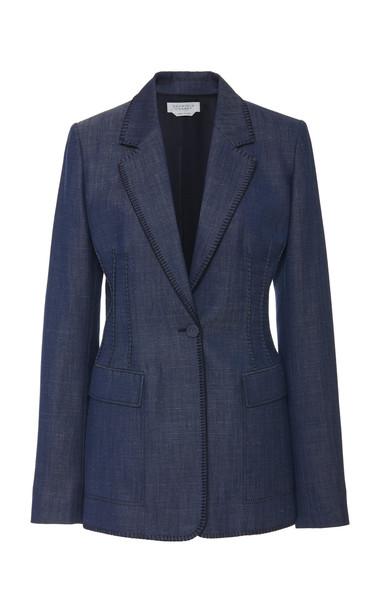 Gabriela Hearst Minos Thread-Embroidered Wool-Blend Blazer Size: 36