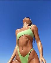 swimwear,green,one piece swimsuit,tan,bright,design,unique style