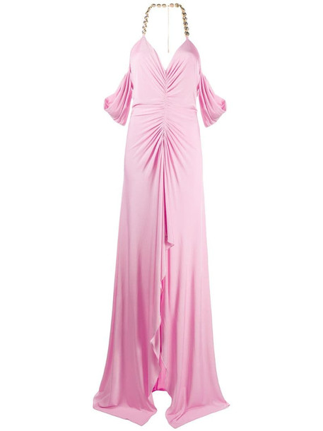 Blumarine crystal accent evening gown in pink