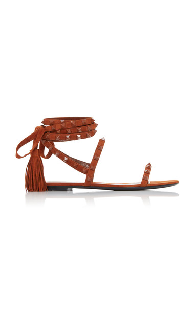 Valentino Rock Stud Suede Sandals Size: 35.5 in brown
