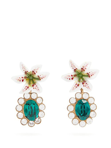 Dolce & Gabbana - Crystal Embellished Lily Clip Earrings - Womens - Gold