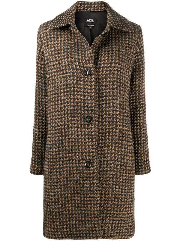 A.P.C. Woven Check single-breasted coat in neutrals
