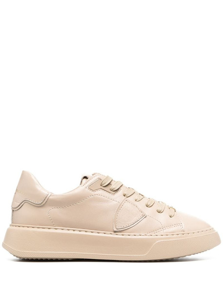 Philippe Model Paris side logo patch leather sneakers in neutrals