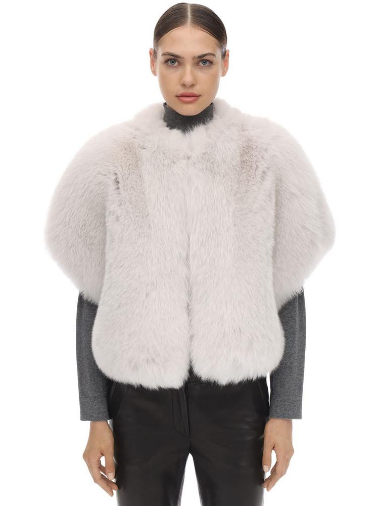 BLANCHA Short Sleeves Shadow Fur Jacket in white