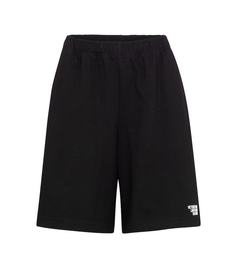 Vetements Logo cotton jersey shorts in black